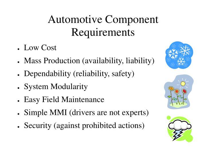 Automotive Component Requirements