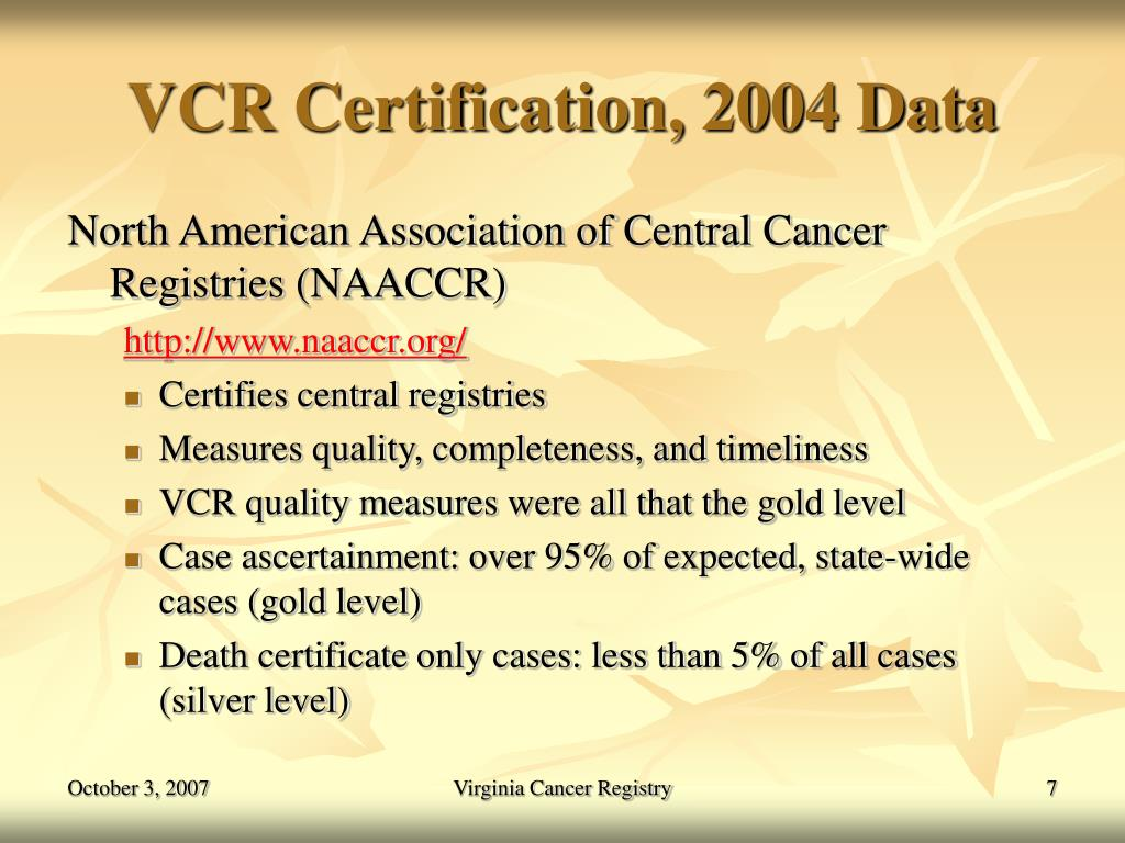 VCR Certification, 2004 Data