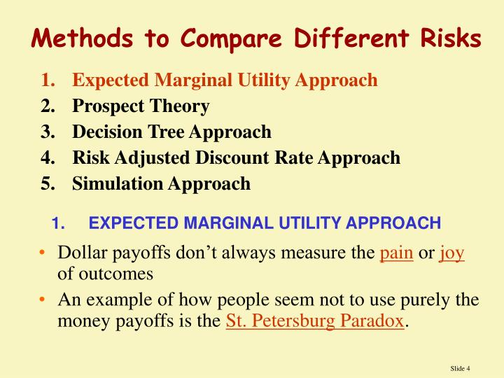 1.Expected Marginal Utility Approach