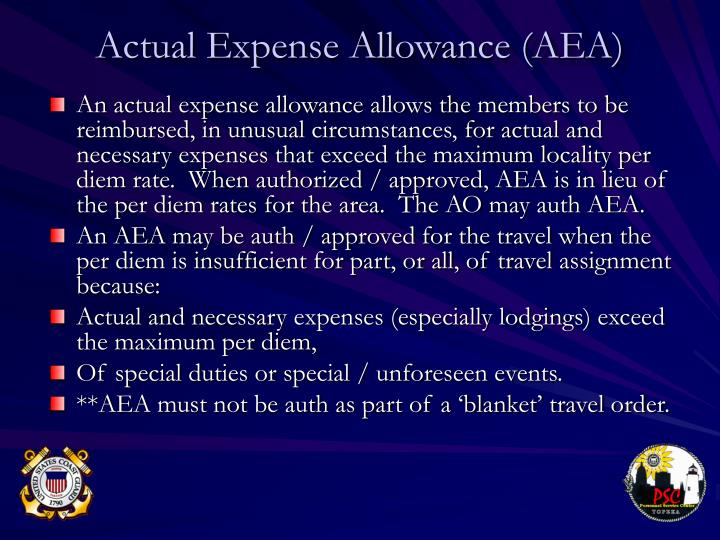 Actual Expense Allowance (AEA)