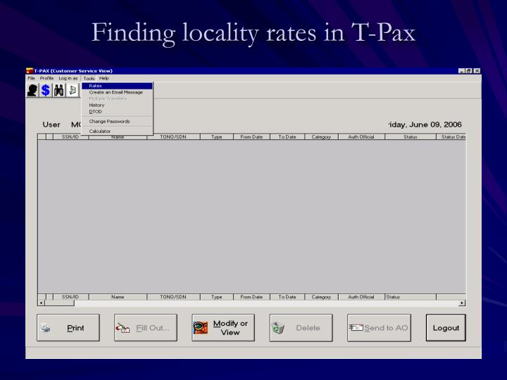 Finding locality rates in T-Pax