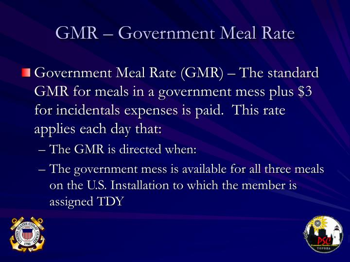 GMR – Government Meal Rate