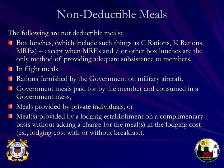 Non-Deductible Meals