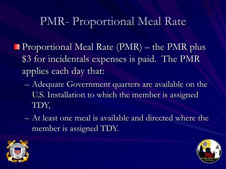PMR- Proportional Meal Rate