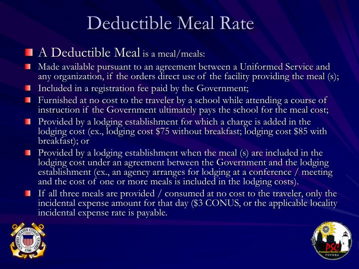 Deductible Meal Rate