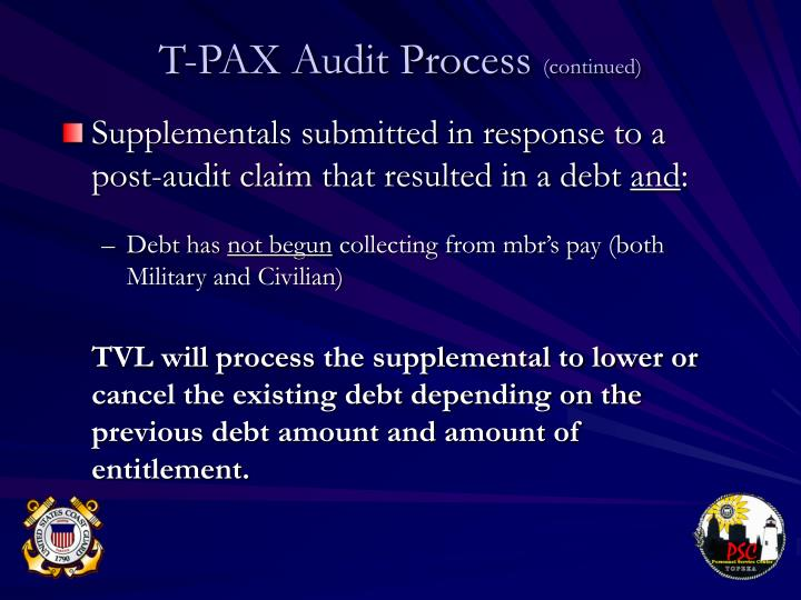 Supplementals submitted in response to a post-audit claim that resulted in a debt