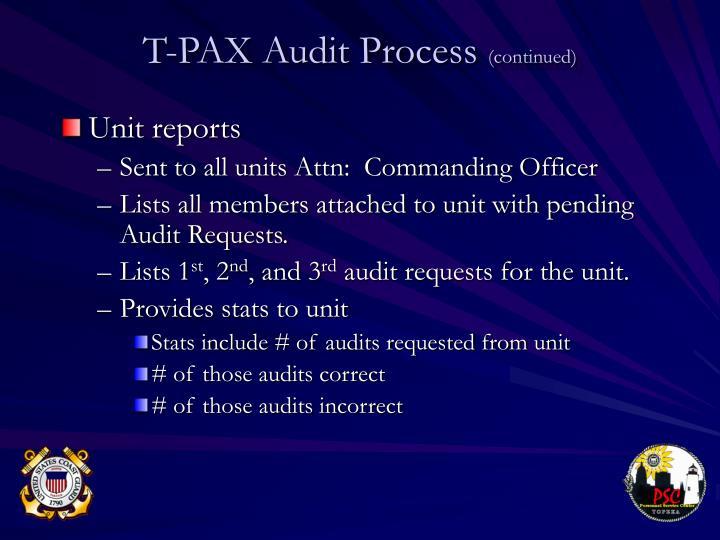 Unit reports