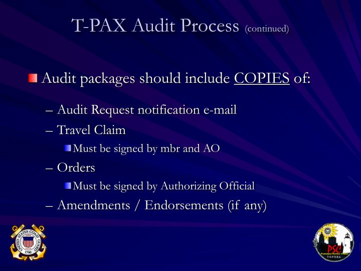 Audit packages should include
