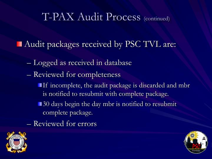 Audit packages received by PSC TVL are: