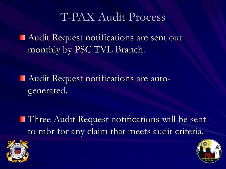 Audit Request notifications are sent out monthly by PSC TVL Branch.