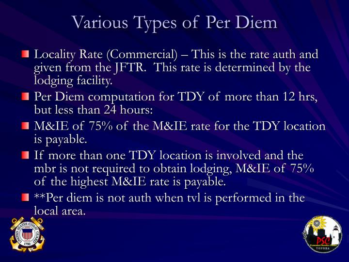 Various Types of Per Diem