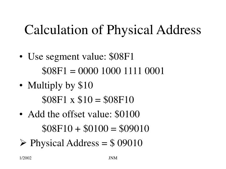 Calculation of Physical Address