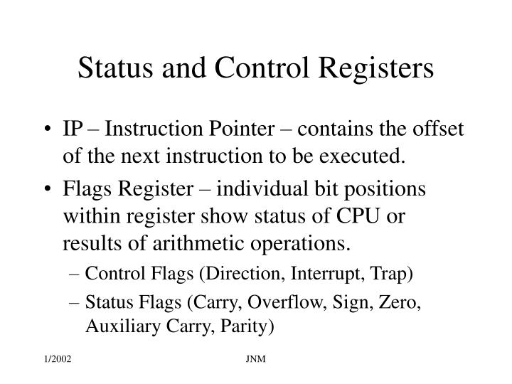Status and Control Registers