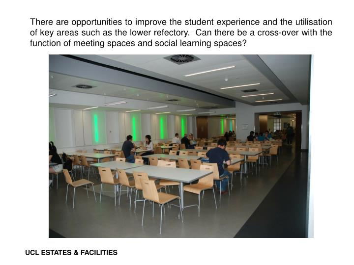 There are opportunities to improve the student experience and the utilisation of key areas such as the lower refectory.  Can there be a cross-over with the function of meeting spaces and social learning spaces?