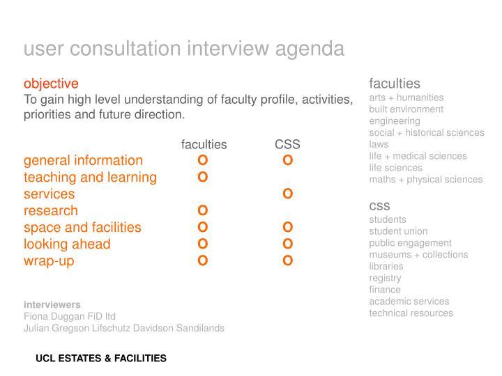 user consultation interview agenda