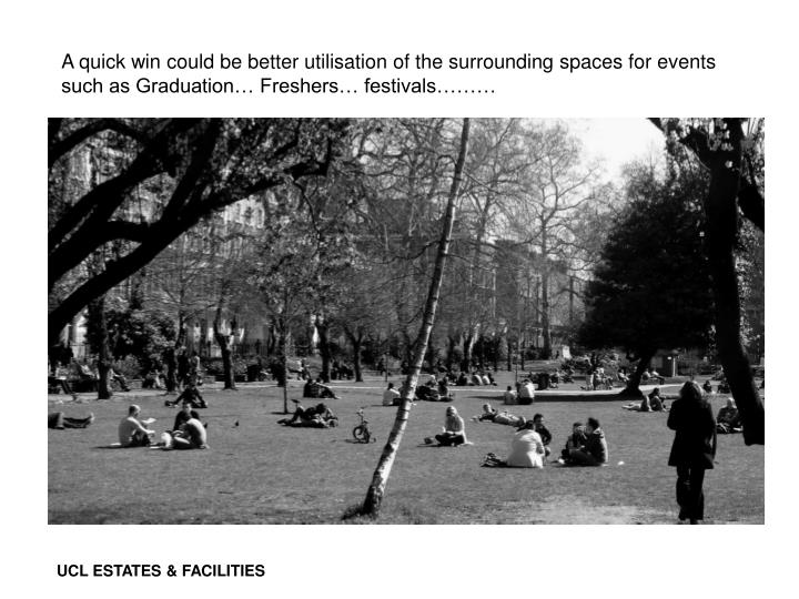 A quick win could be better utilisation of the surrounding spaces for events such as Graduation… Freshers… festivals………