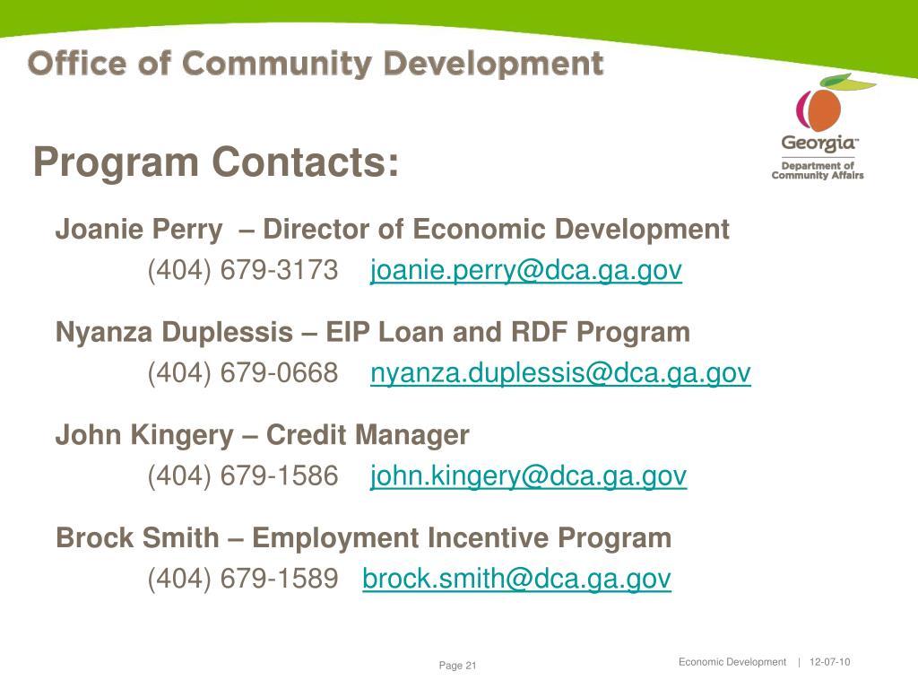 Program Contacts: