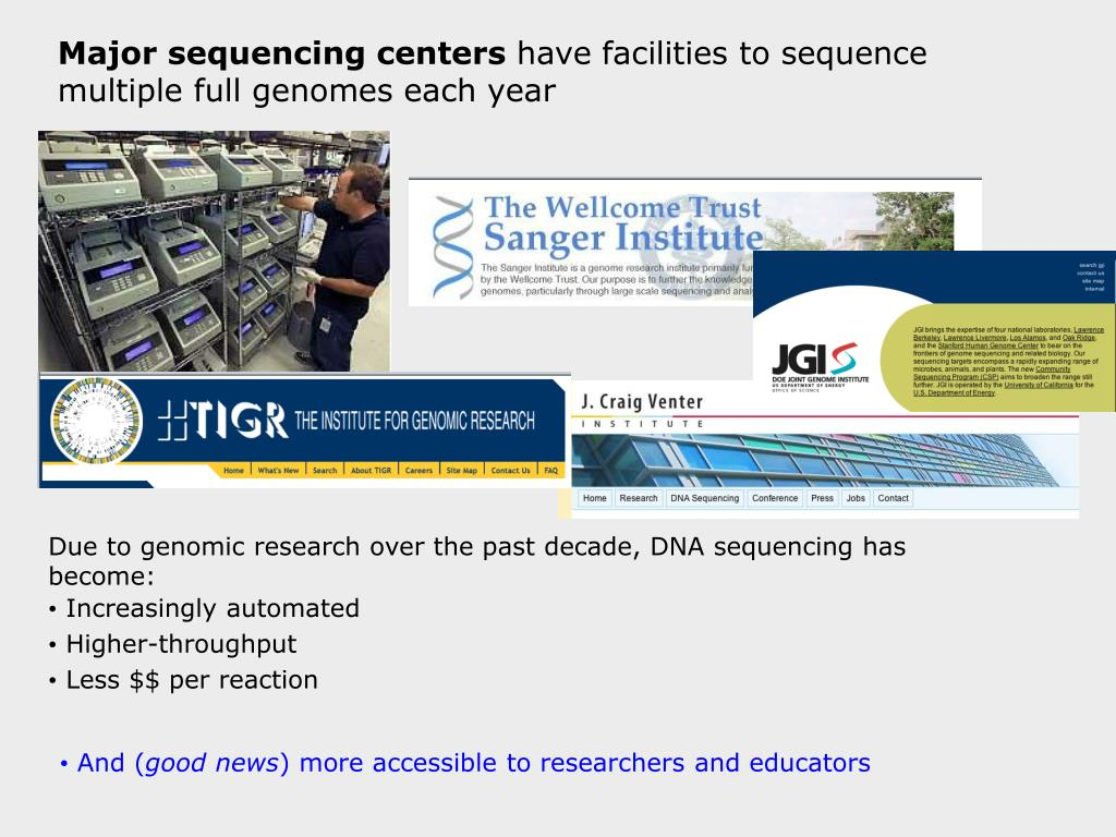 Major sequencing centers