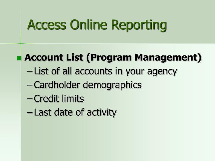 Access Online Reporting