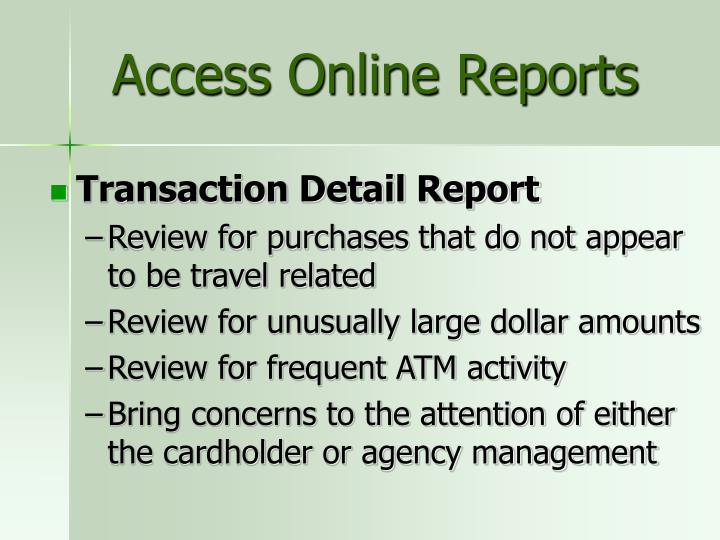 Access Online Reports