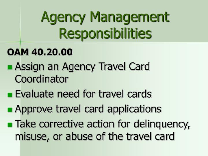 Agency Management Responsibilities