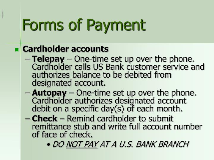 Forms of Payment
