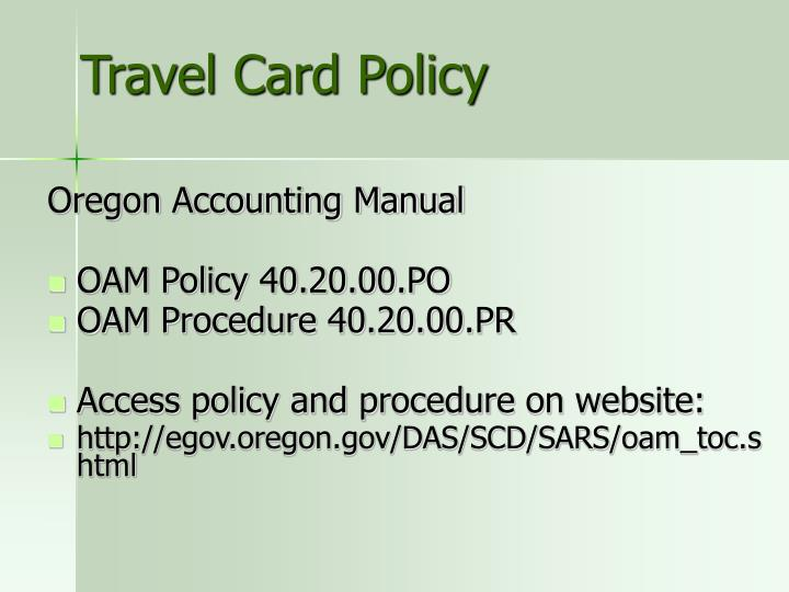 Travel Card Policy