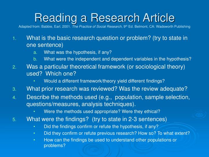 Reading a Research Article