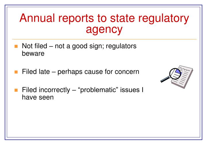 Annual reports to state regulatory agency