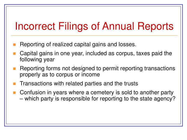 Incorrect Filings of Annual Reports