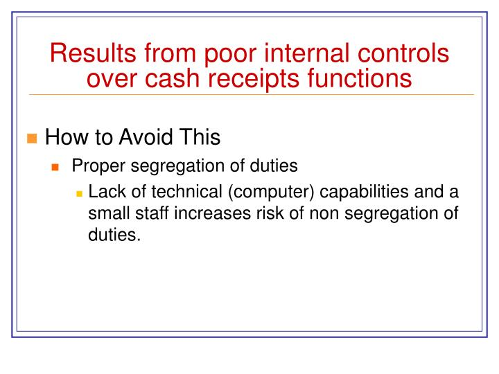 Results from poor internal controls over cash receipts functions