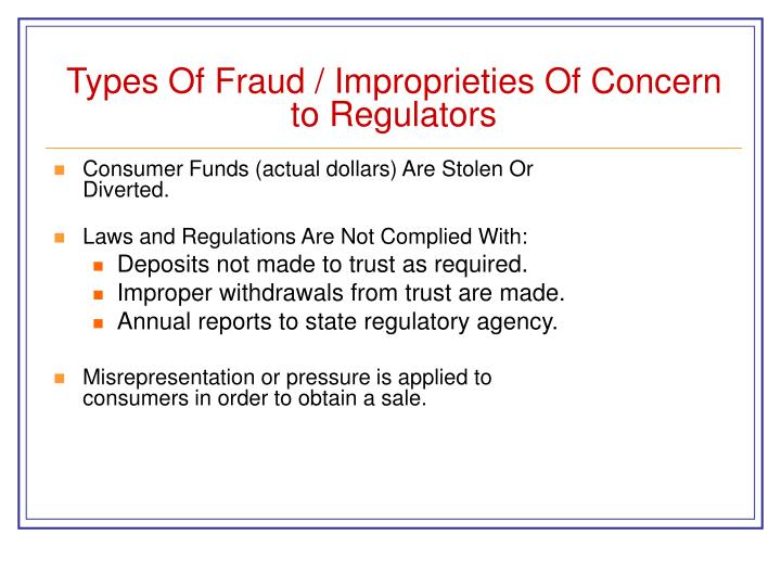 Types Of Fraud / Improprieties Of Concern to Regulators
