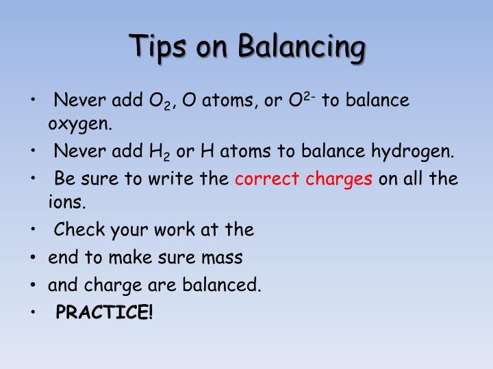 Tips on Balancing