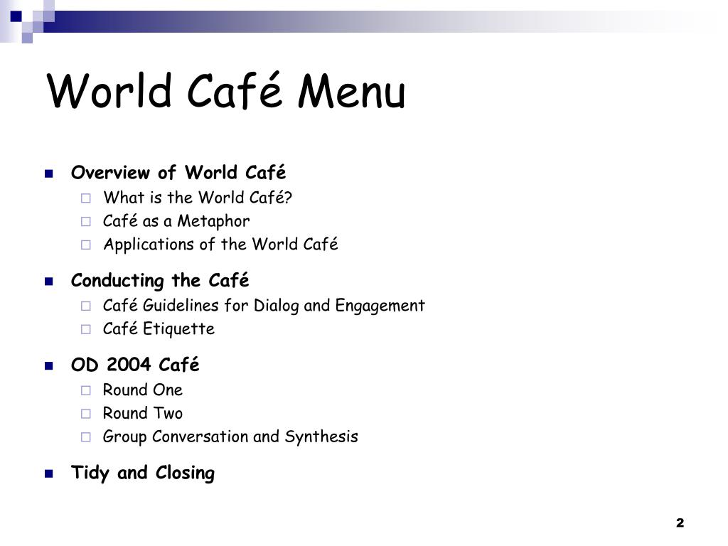 World Café Menu