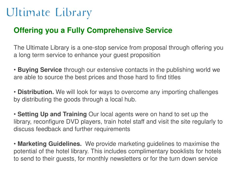 Offering you a Fully Comprehensive Service
