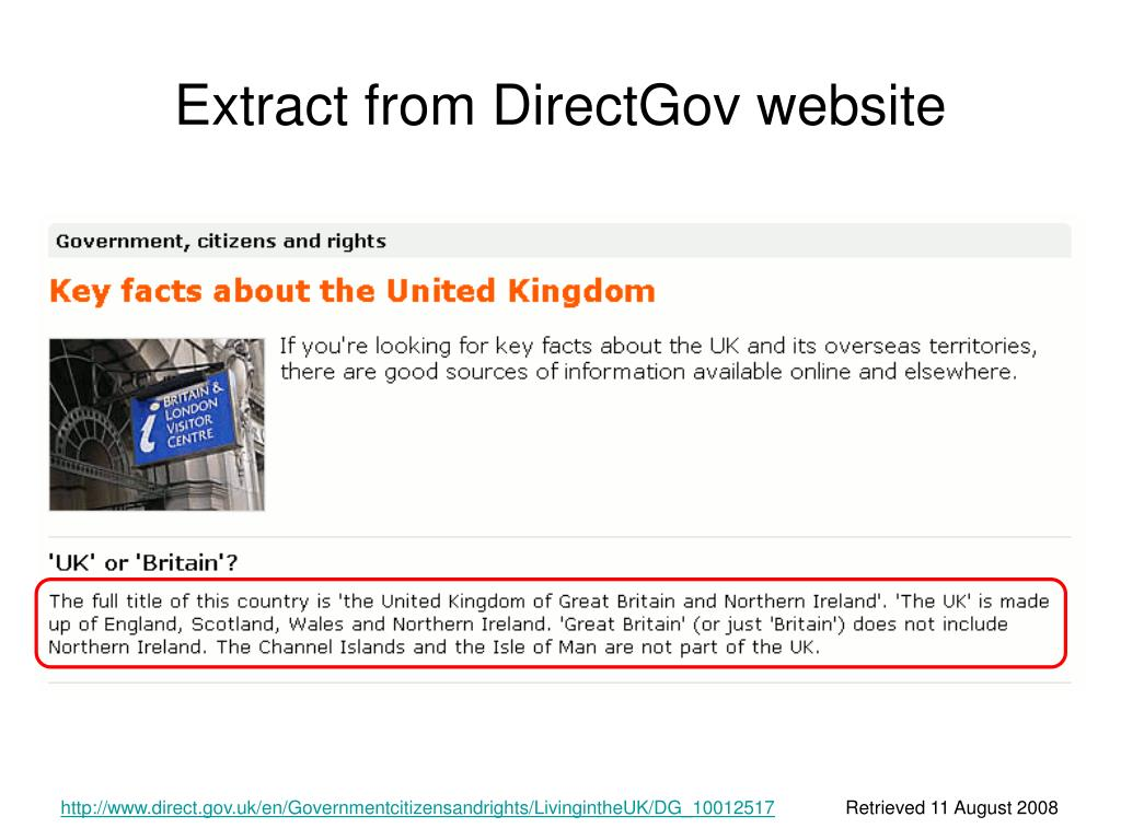 Extract from DirectGov website