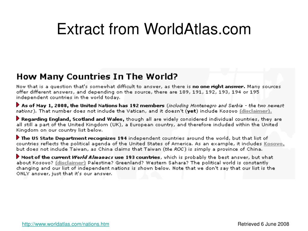 Extract from WorldAtlas.com