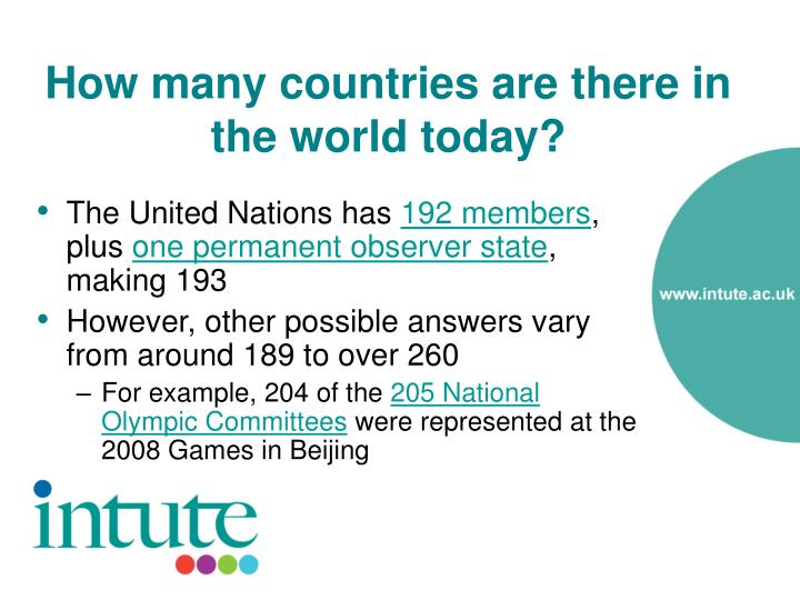 How many countries are there in the world today3