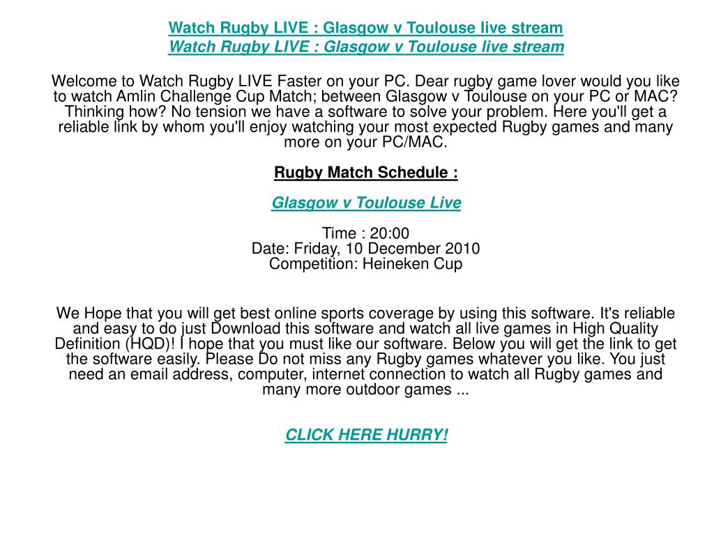 Watch Rugby LIVE : Glasgow v Toulouse live stream