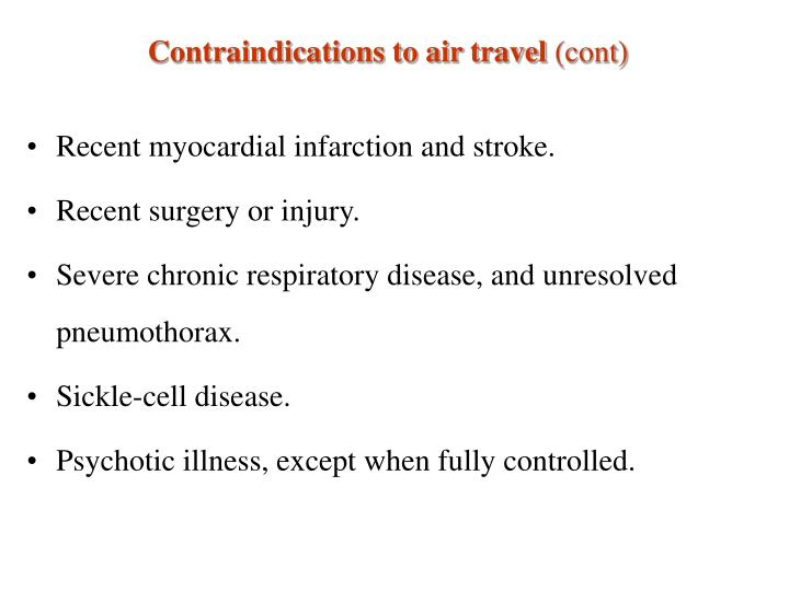 Contraindications to air travel