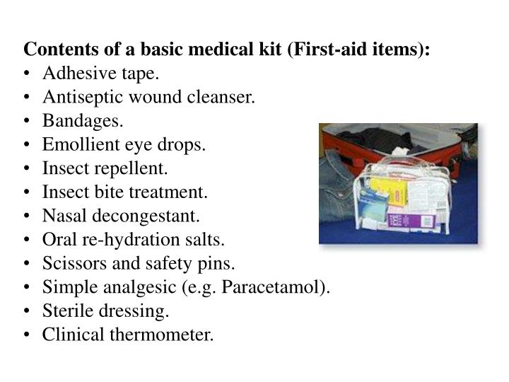 Contents of a basic medical kit (First-aid items):