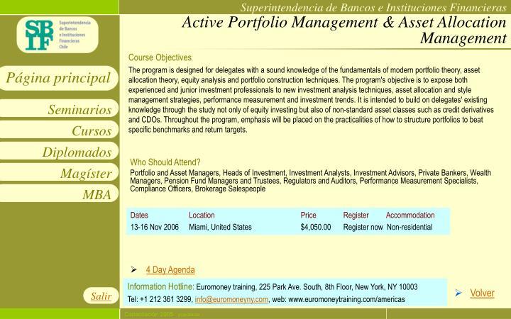 Active Portfolio Management & Asset Allocation