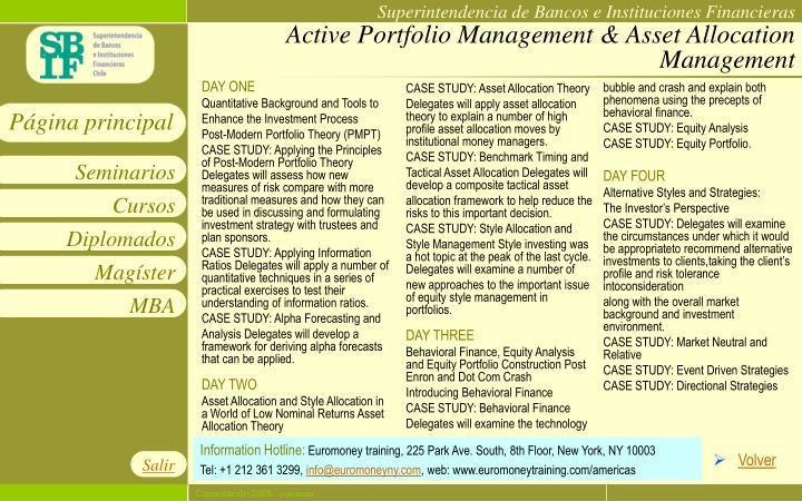 Active Portfolio Management & Asset Allocation Management