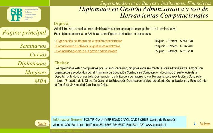 Diplomado en Gestión Administrativa y uso de Herramientas Computacionales