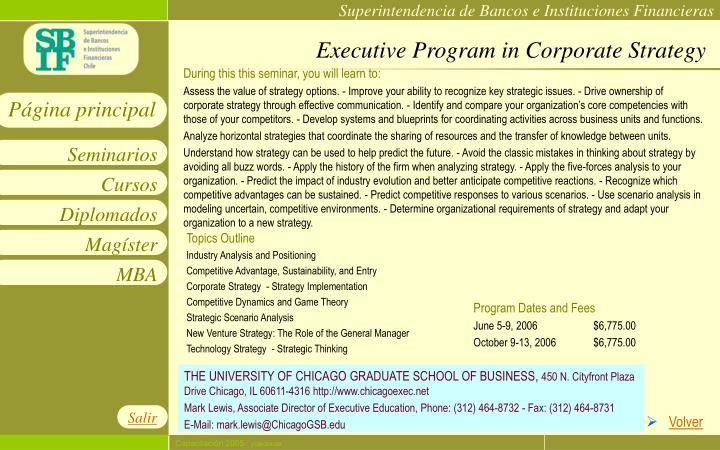 Executive Program in Corporate Strategy