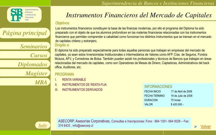 Instrumentos Financieros del Mercado de Capitales
