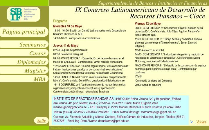 IX Congreso Latinoamericano de Desarrollo de Recursos Humanos – Clace