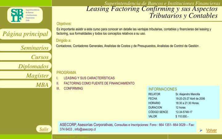 Leasing Factoring Confirming y sus Aspectos Tributarios y Contables