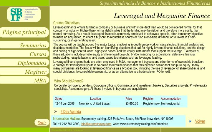 Leveraged and Mezzanine Finance