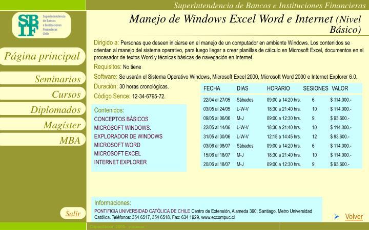 Manejo de Windows Excel Word e Internet